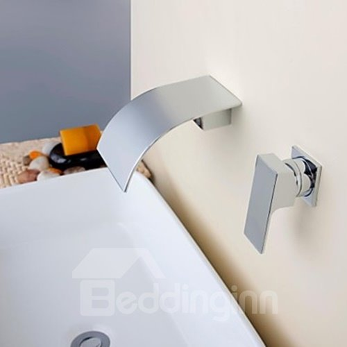 Contemporary Waterfall Chrome Brass Single Handle Bathroom Sink Faucet