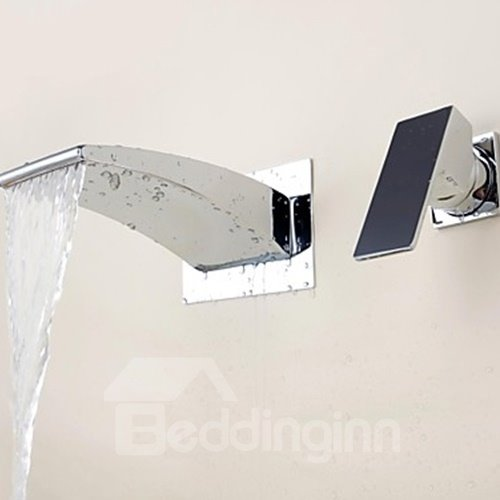 Modern Style Waterfall Chrome Brass Two Holes Single Handle Bathroom Sink Faucet
