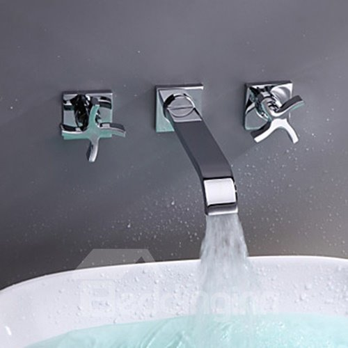 Solid Brass Wall Mounted Bathroom Sink Faucet