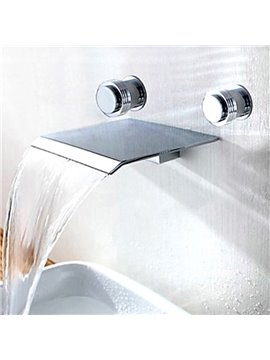Two Handles Contemporary Widespread Waterfall Bathroom Sink Faucet