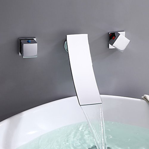 Contemporary Chrome Three Holes Two Handles Wall Mounted Waterfall Bathroom Sink Faucet