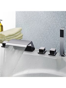 Chrome Finish Five Holes Widespread Waterfall Bathtub Faucet