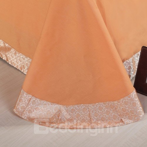 Modern Life Solid Color Satin Jacquard 4-Piece Duvet Cover Sets