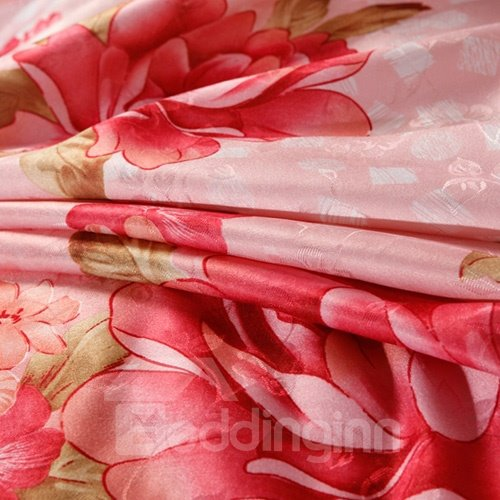 Very Soft Aromatic Red Flower Print 4-Piece Duvet Cover Sets