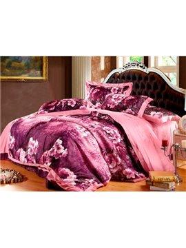 Very Soft Cotton Flower Oil Painting 4-Piece Duvet Cover Sets