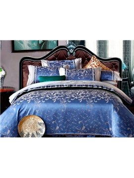 Luxury Solid Blue Floral 100% Cotton 4-Piece Duvet Cover Sets
