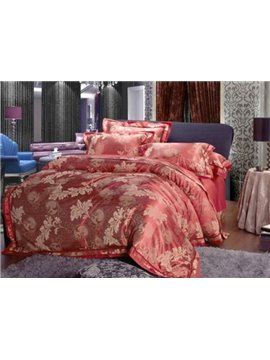 Microfiber Palm Pattern Satin Jacquard 100% Cotton 4-Piece Duvet Cover Sets