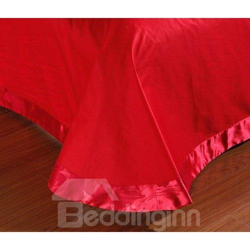 True Red Flower Print 100% Cotton 4-Piece Duvet Cover Sets