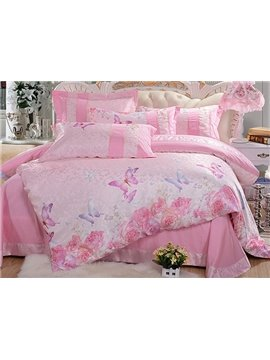High Quality Pink Flower and Butterfly Print 4-Piece Duvet Cover Sets