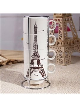 Amazing Creative Eiffel Tower Four-piece Coffee Mug Sets