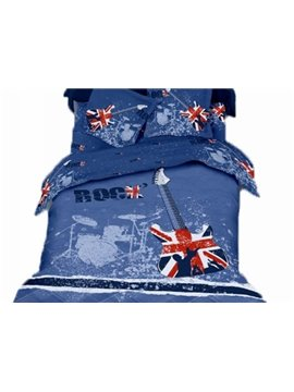 Blue Rock Violin Print 4-Piece 3D Duvet Cover Sets