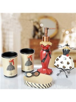High Quality European Style Five Pieces Resin Bathroom Accessories