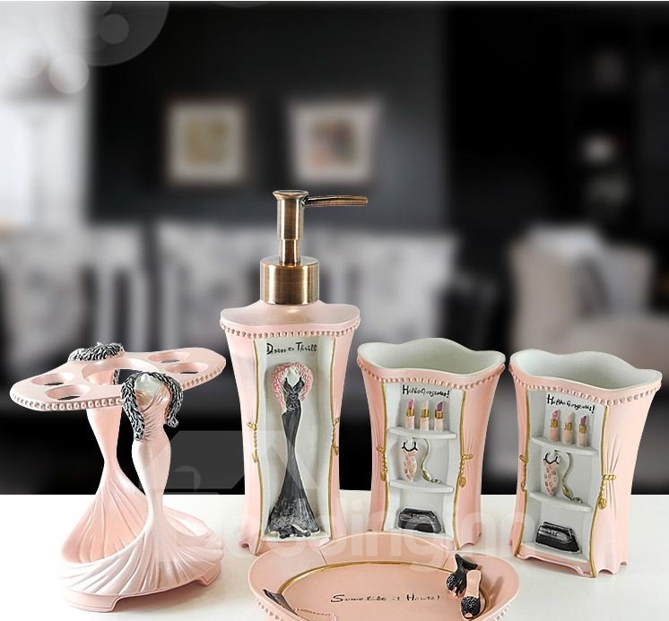 High Quality European Style Pink Resin Bathroom Accessories 10962063
