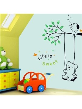 New Arrival Cute Bear Playing on a Swing Wall Stickers