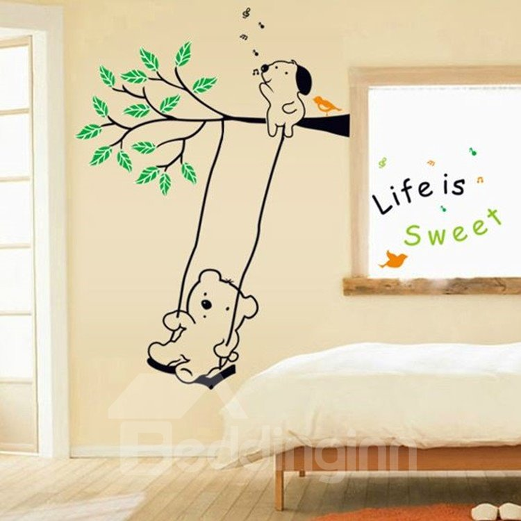 Life is Sweet Cute Bear Playing on a Swing Wall Stickers
