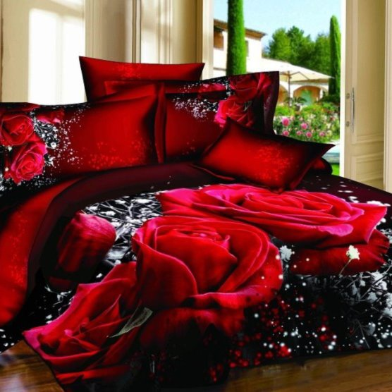 Alluring Red Rose Print 100% Cotton 3D Duvet Cover beddinginn