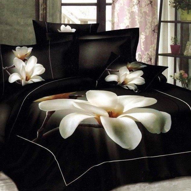 Charming Magnolia Flower Print 100% Cotton 3D Duvet Cover
