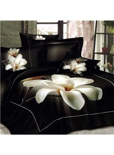 Charming Magnolia Flower Print 100% Cotton 3D Duvet Cover
