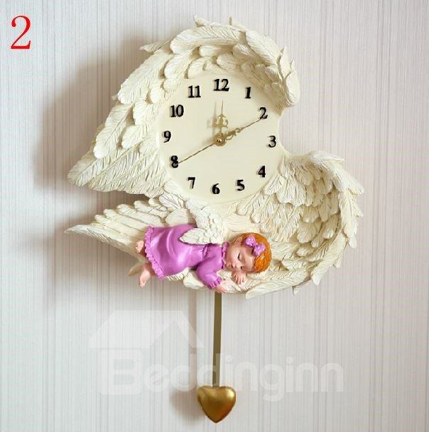 Lovely Resin Angel Pattern Heart Shape Wall Clock