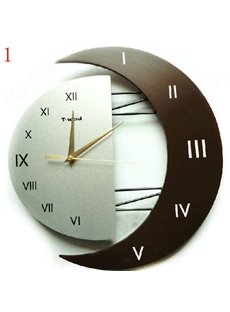 Elegant Modern Moon-Shaped Creative Wall Clock
