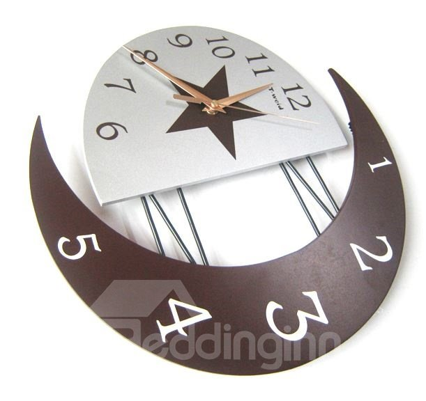 Elegant Modern Moon-Shaped Creative Wall Clock