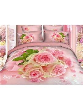 A Bouquet of Pink Roses Print 4-Piece 3D Duvet Cover Sets