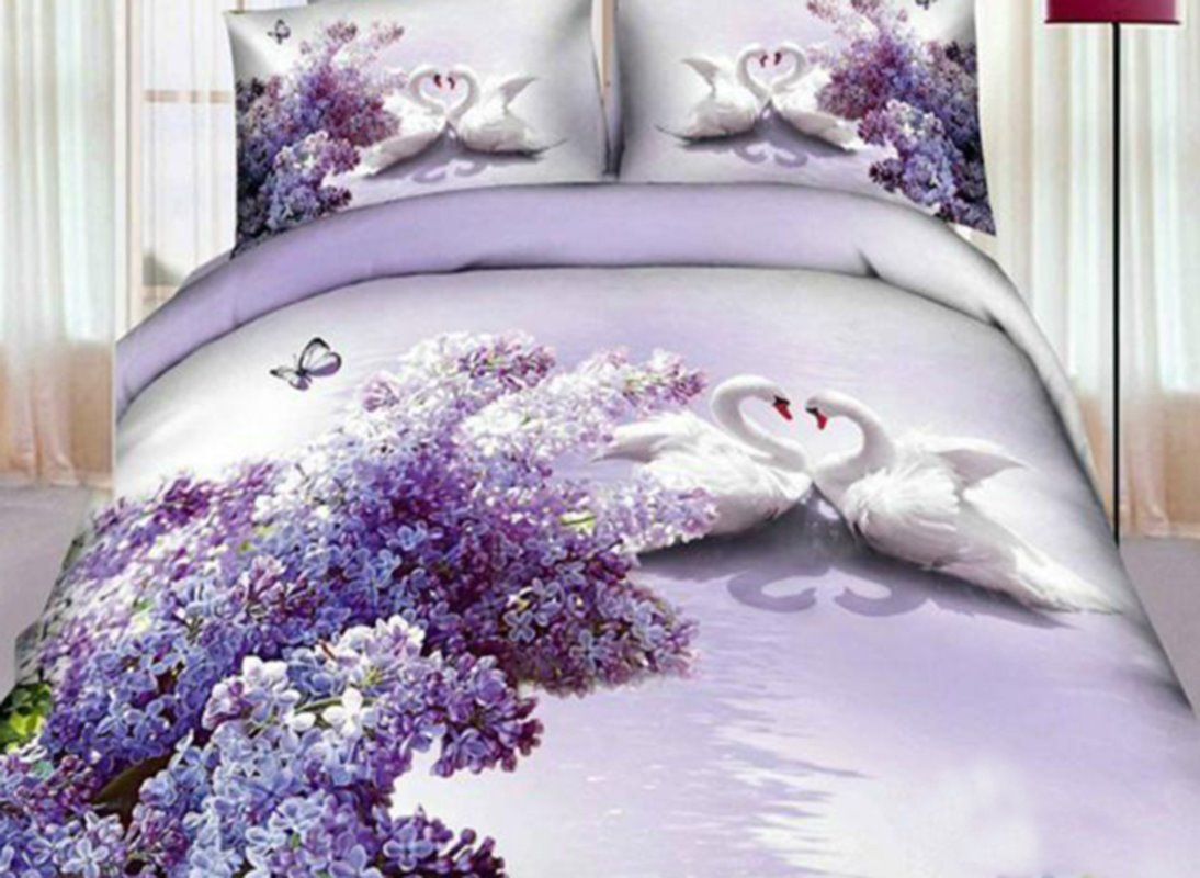 Romantic Lilac and White Swan Couple Print 4-Piece 3D Duvet Cover Sets