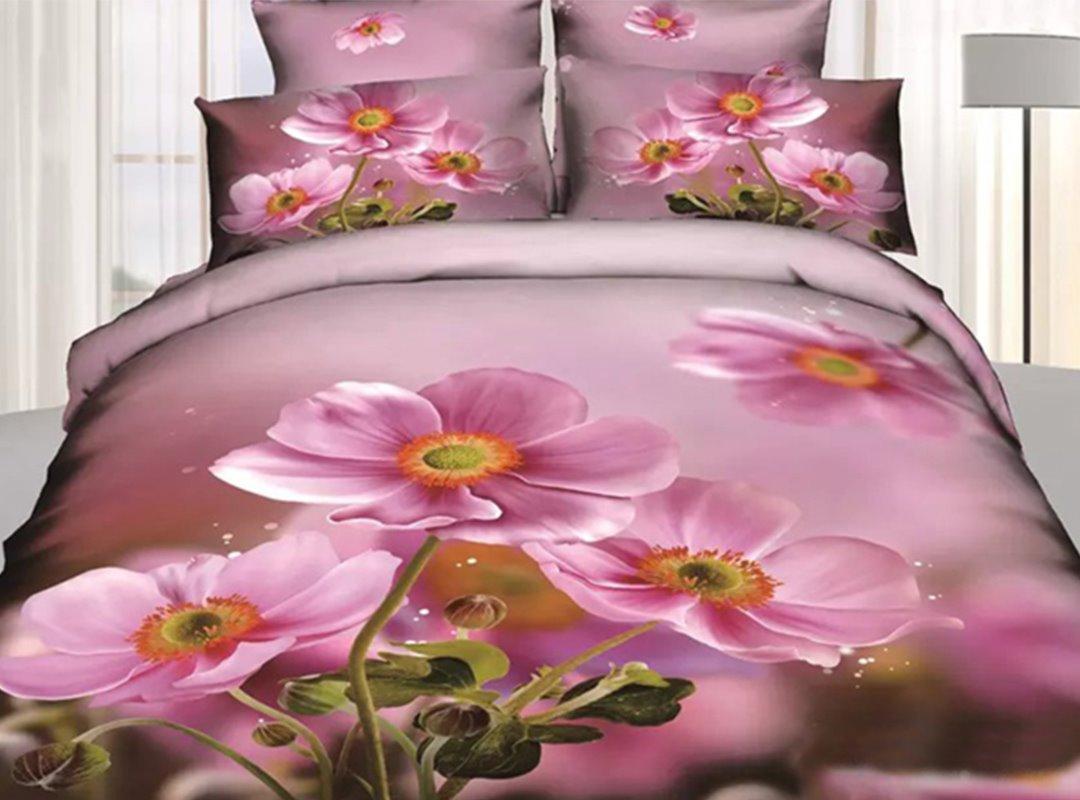 Attractive Pink Flower Print 4-Piece 3D Duvet Cover Sets