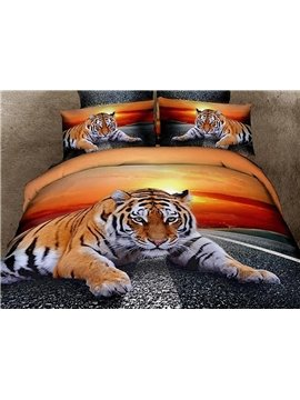 Top Class Lying Tiger Print 4 Piece 3D Duvet Cover Sets