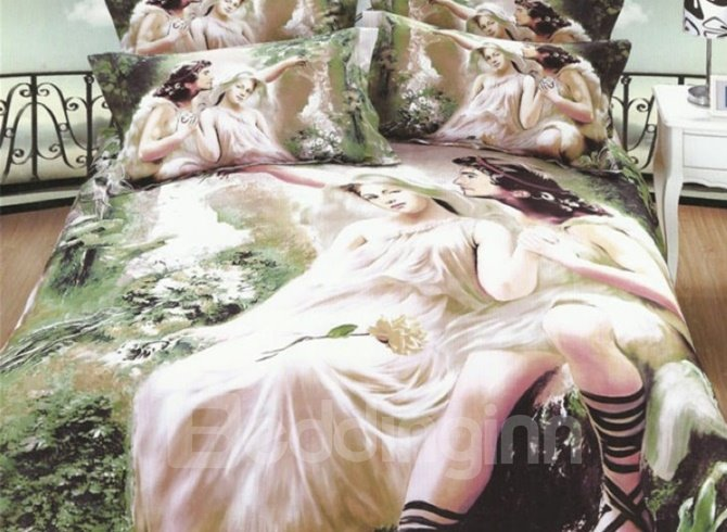 Beautiful Couples Oil Painting 4-Piece 3D Duvet Cover Sets