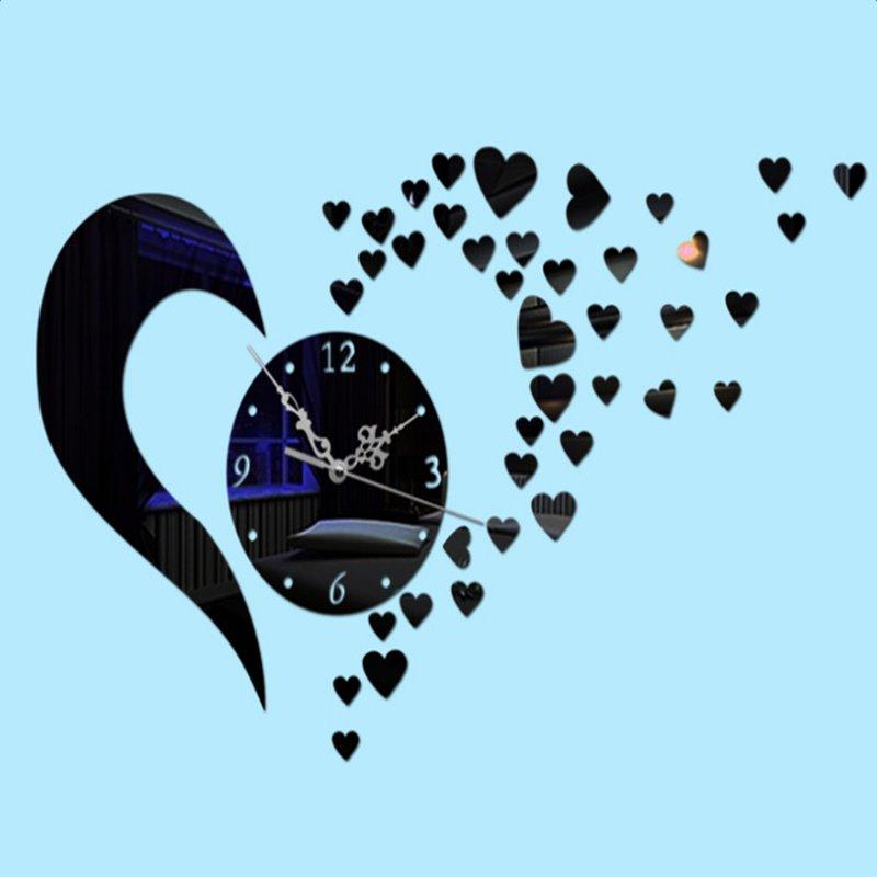 Stunning Beautiful Heart-shaped Mirror Acrylic Wall Clock
