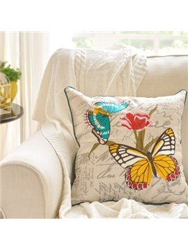 Beautiful Butterfly Flying over Delicate Flowers Print Throw Pillow