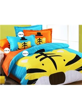 Very Cute Cartoon Tiger Print Cotton Duvet Cover Sets