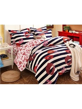 Red Lips and Strip Print Cotton Duvet Cover Sets