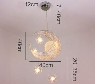 Simple Style Creative Star and Moon Design Cinderella Flush Mount Ceiling Light