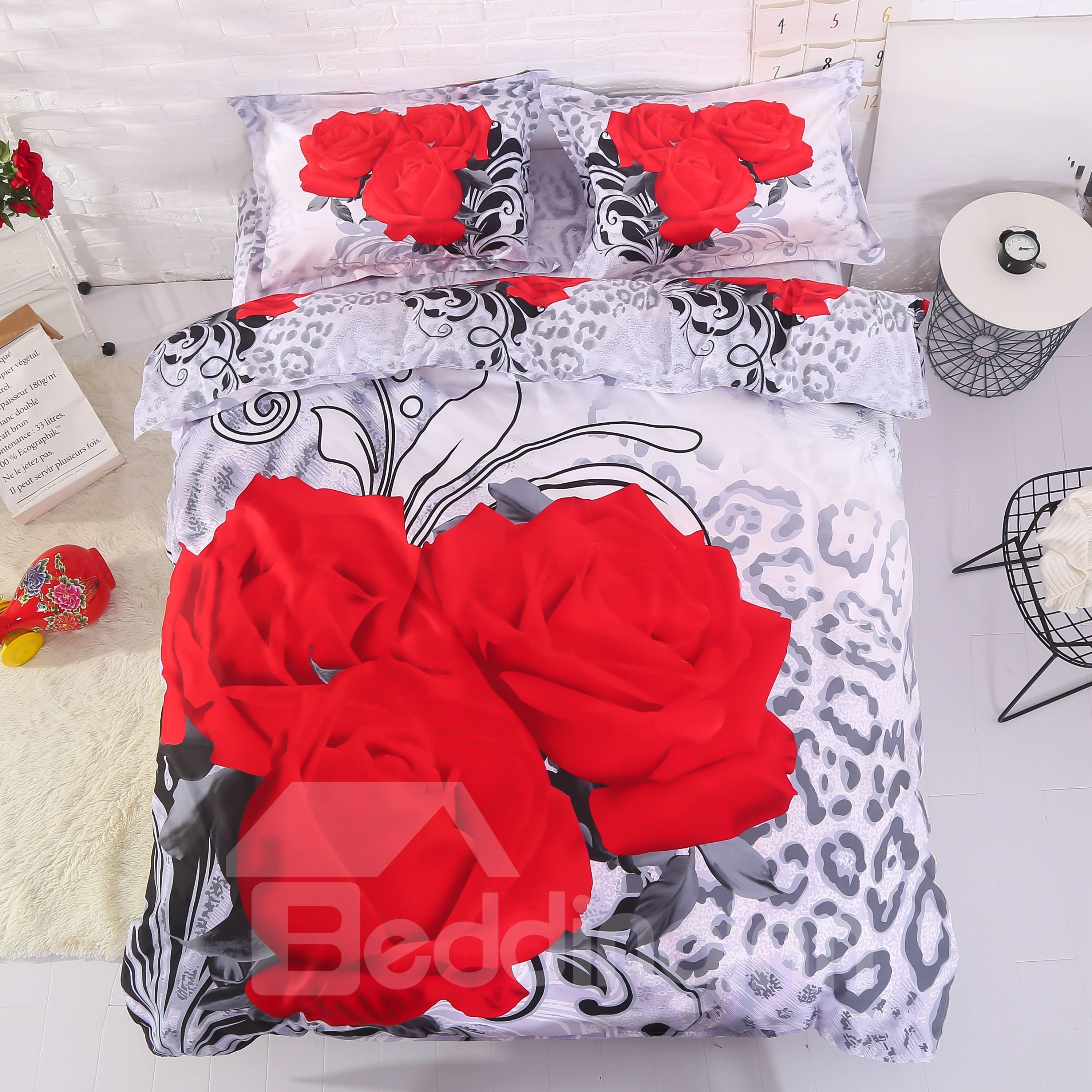 Fancy Three Red Roses Print 4-Piece 3D Polyester Duvet Cover Sets beddinginn