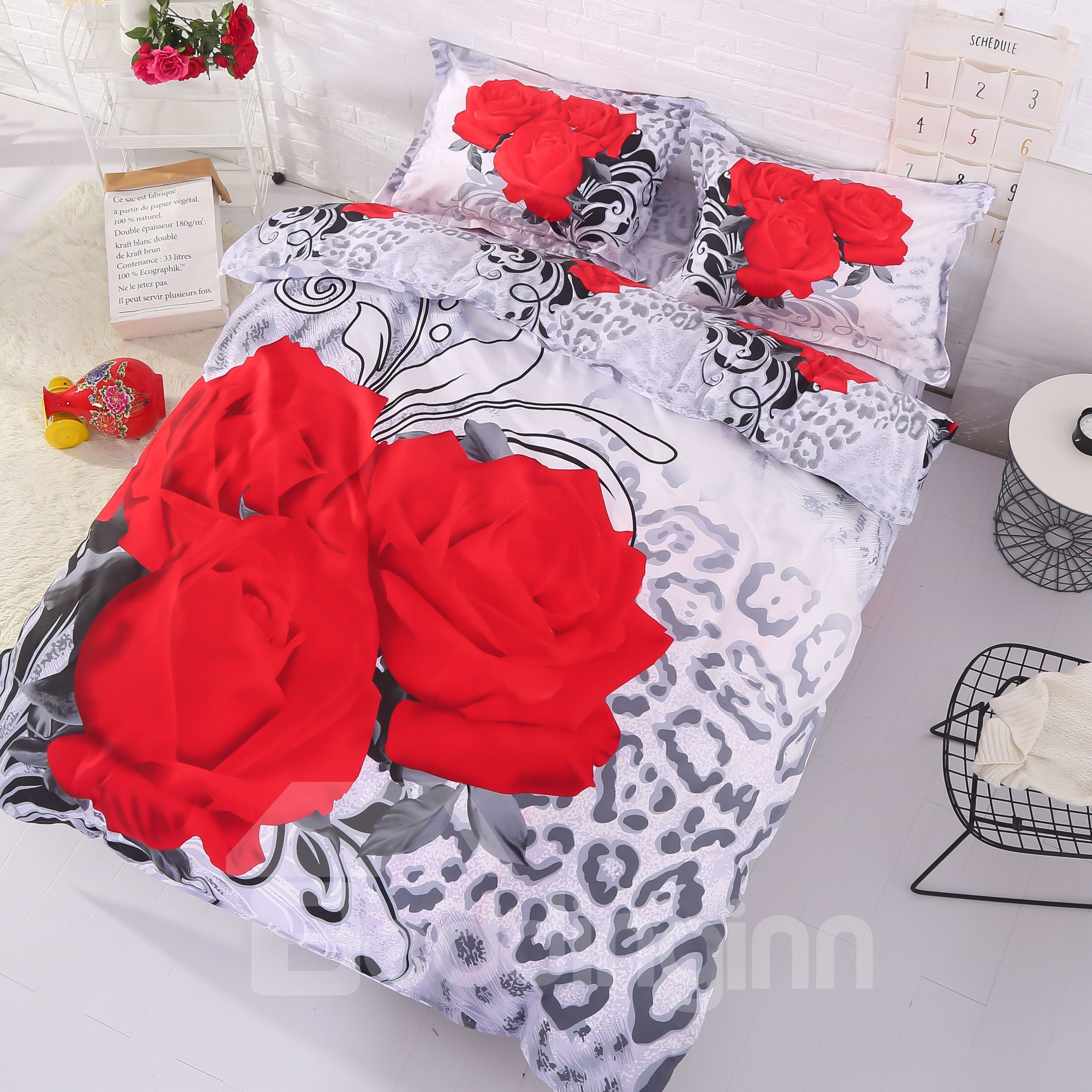 Fancy Three Red Roses Print 4-Piece 3D Polyester Duvet Cover Sets
