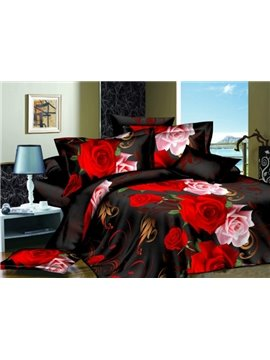 Pink and Red Roses Print 4-Piece 3D Polyester Duvet Cover Sets