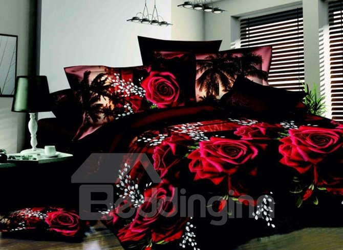 Bright Red Flowers Print 4-Piece 3D Polyester Duvet Cover Sets