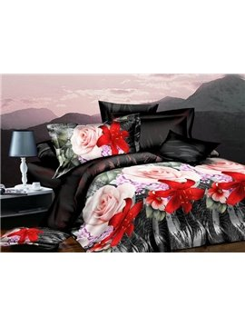 Charming Pink Roses and Red Tulip Print 4-Piece 3D Polyester Duvet Cover Sets