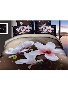 Beautiful White Flowers Print 4-Piece 3D Cotton Duvet Cover Sets