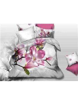 Adorable Pink Flowers Print 4-Piece 3D Cotton Duvet Cover Sets