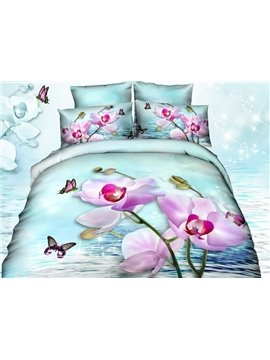 Pretty Pink Flowers and Butterfly Print 4-Piece 3D Cotton Duvet Cover Sets