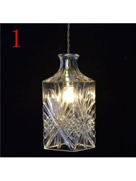Elegant Simple Style Engraved Wine Bottle Design Pendant Light