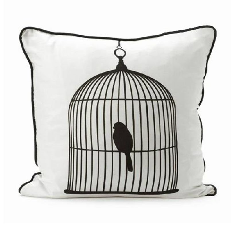 Fashion New Style Bird in a Cage White Color Throw Pillowcase