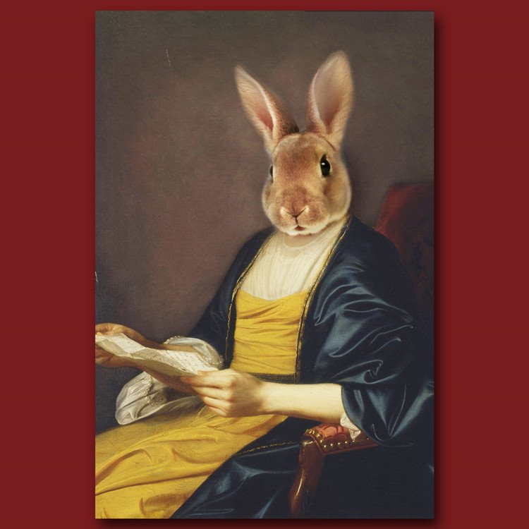 Elegant Rabbit Design Pure Cotton Material Wall Art Print