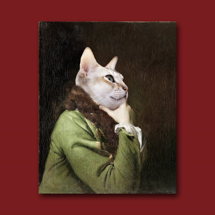 Amazing Cat in an Army Green Coat Design Pure Cotton Material Wall Art Print