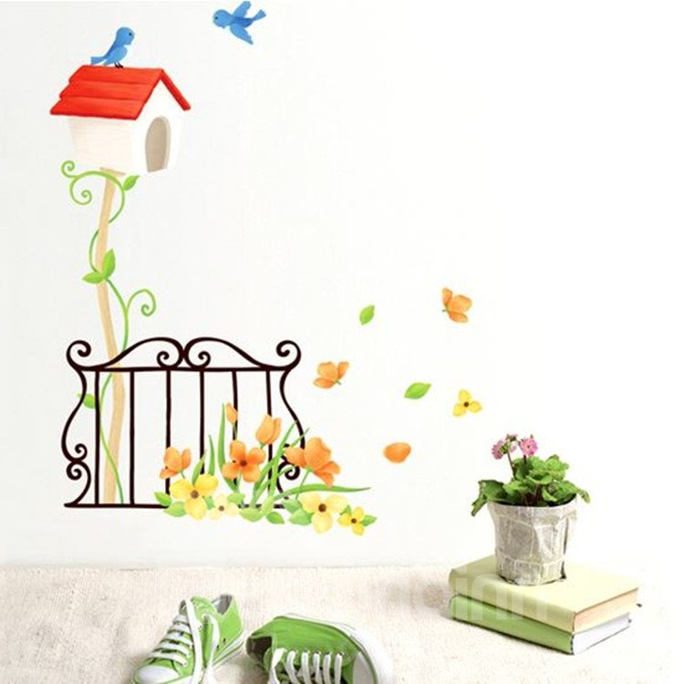 New Arrival Amazing Mailbox and Beautiful Flowers Wall Stickers