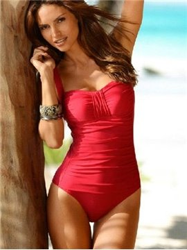 Fashion Fancy Slim Ruffle Detail Wireless Swimsuit