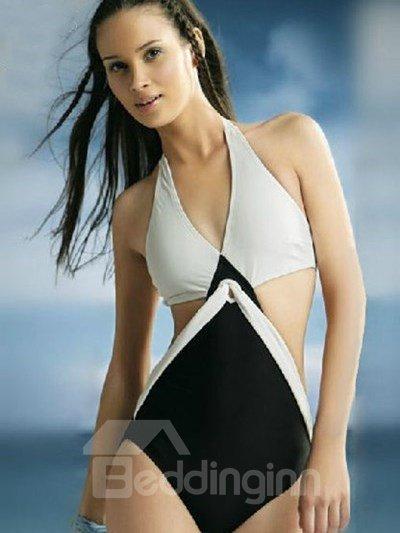 Forever Fashion White and Black Unique Design Swimsuit